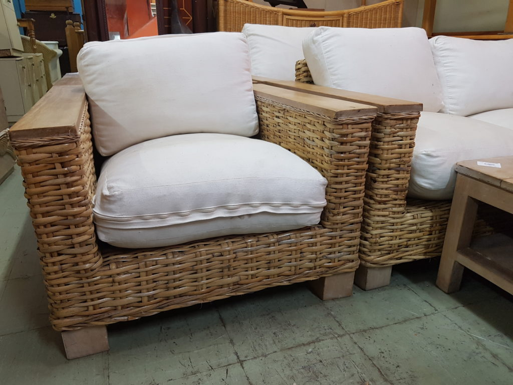 Stunning Cane Lounge Suite With Cream Cushions And